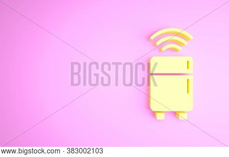 Yellow Smart Refrigerator Icon Isolated On Pink Background. Fridge Freezer Refrigerator. Internet Of