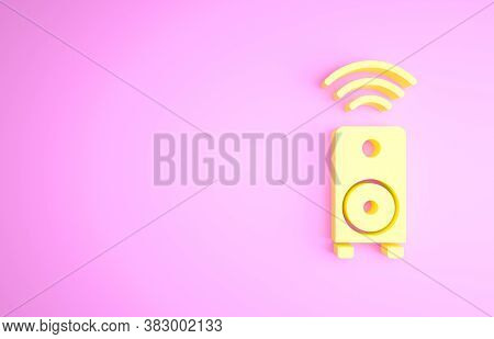 Yellow Smart Stereo Speaker System Icon Isolated On Pink Background. Sound System Speakers. Internet