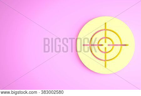Yellow Target Sport Icon Isolated On Pink Background. Clean Target With Numbers For Shooting Range O