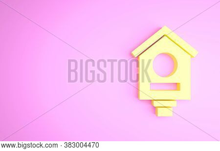 Yellow Bird House Icon Isolated On Pink Background. Nesting Box Birdhouse, Homemade Building For Bir