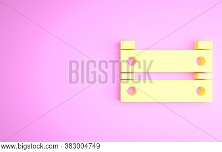 Yellow Wooden Box Icon Isolated On Pink Background. Grocery Basket, Storehouse Crate. Empty Wooden C