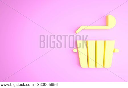 Yellow Sauna Bucket And Ladle Icon Isolated On Pink Background. Minimalism Concept. 3d Illustration