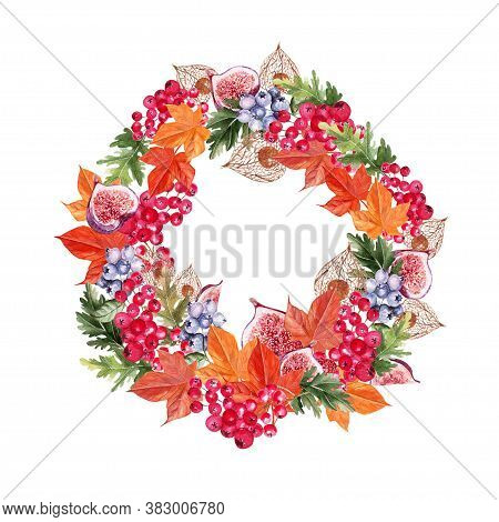 Beautiful Autumn Watercolor Wreath With Leaves, Blueberries, Viburnum Berries, Physales And Figs. Il
