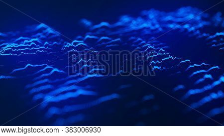 Abstract Background With A Dynamic Wave. Wave Of Particles. Abstract Technology Flow Background. Big