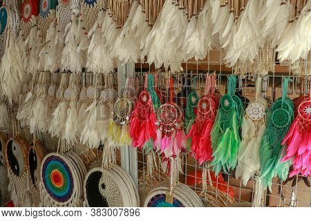 Various Design Of Dream Catchers Selling In The Store. Dream Catchers In The Shop, Close Up Of Dream