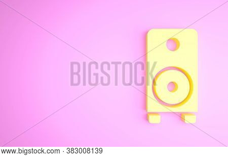 Yellow Stereo Speaker Icon Isolated On Pink Background. Sound System Speakers. Music Icon. Musical C