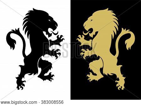 Two Heraldic Rampant Lion Silhouettes. Coat Of Arms. Heraldry Logo Design Element. A Lion Rampant St