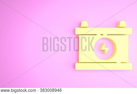 Yellow Car Battery Icon Isolated On Pink Background. Accumulator Battery Energy Power And Electricit