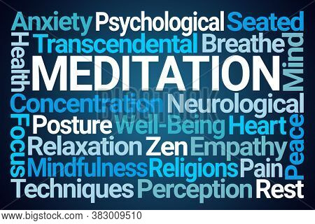 Meditation Word Cloud on Blue Background