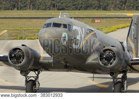 Eindhoven Netherlands Sept. 20. 2019: A C-47 Preparing To Drop Paratroopers At The Market Garden Mem