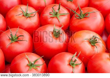 Red Tomatoes Background. Group Of Tomatoes A Lot Of Red Tomatoes Background