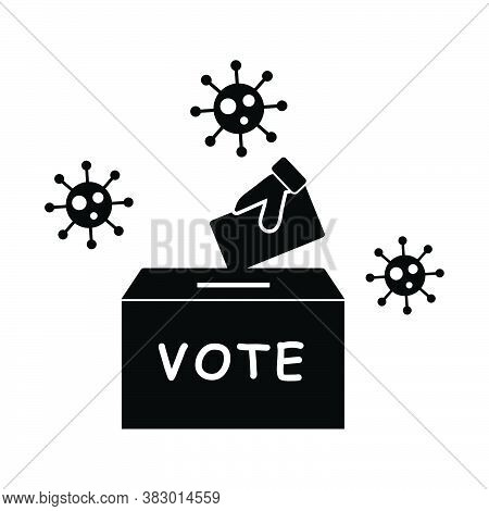 Voting Election During Pandemic Virus. Pictogram Depicting Voters Casting Ballot Vote During A Virus