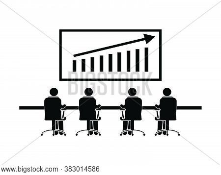 Team Business Sales Meeting. Pictogram Depicting Group Corporate Company Meeting Discussing Regardin