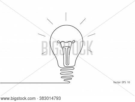 Electric Light Bulb.continuous One Line Drawing Light Bulb Symbol Idea.vector Illustration.