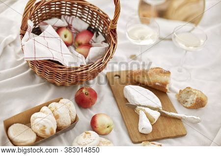 Summer - Picnic. Cheese Brie, Baguette, Peaches, Champagne And Basket