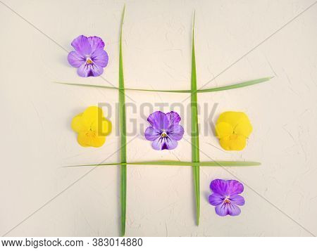 Tic-tac-toe Of Flowers And Blades Of Grass. Creative Concept Of A Holiday, Birthday. Yellow And Purp