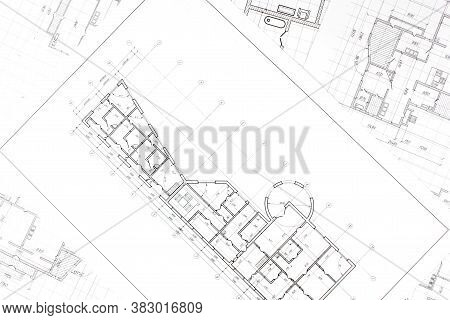 House Plan Project .technical Drawing Background.engineering Design .