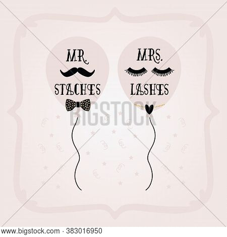 Black And Golden Abstract Mrs. Lashes And Mr. Staches Balloons And Frame Wedding Card On Pink Gradie