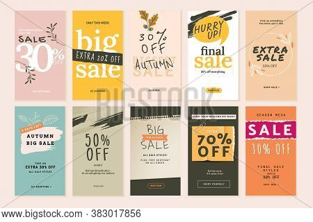 Set Of Mobile Sale Banners. Autumn Sale. Vector Illustrations For Website And Mobile Banners, Print