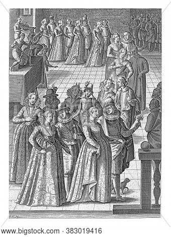 Venetian ball with men and women in a row walking hand in hand in pairs. On the left of a stage three men playing music with a lira da braccio, a viola da gamba and a lute, vintage engraving.