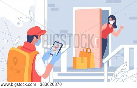 Contactless Delivery. Cartoon Courier Carrying Parcel To Customers Door, People On Quarantine Receiv
