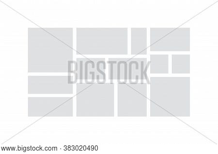 Photo Collage. Minimalist Mood Board Mock Up And Photo Album Page, Branding Presentation Layout. Vec