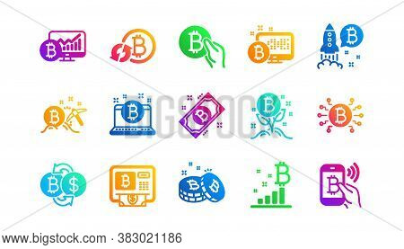 Blockchain, Crypto Ico And Bitcoin. Cryptocurrency Icons. Mining Classic Icon Set. Gradient Patterns