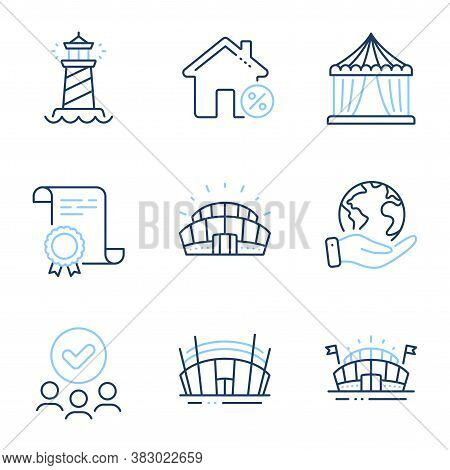 Sports Arena, Arena Stadium And Lighthouse Line Icons Set. Diploma Certificate, Save Planet, Group O