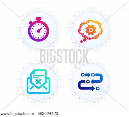 Timer, Cogwheel And Reject Letter Icons Simple Set. Button With Halftone Dots. Methodology Sign. Sto