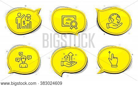 Analysis Graph Sign. Diploma Certificate, Save Planet Chat Bubbles. Touchscreen Gesture, Seo Statist
