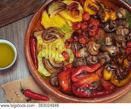 Delicious Grilled Vegetables. Tasty Healthy Oven Baked Vegetarian Seasonal Food. Colorful Veggies in the Pan.