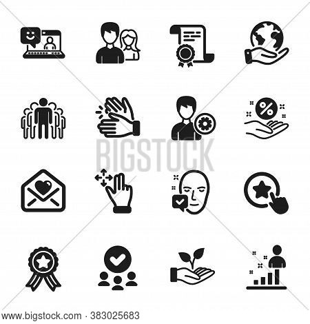 Set Of People Icons, Such As Clapping Hands, Loan Percent. Certificate, Approved Group, Save Planet.