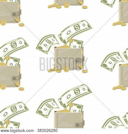 Cash Wallets. Dollars Signs, Gold Coins. Money Pattern. Falling Money Isolated On White Background.