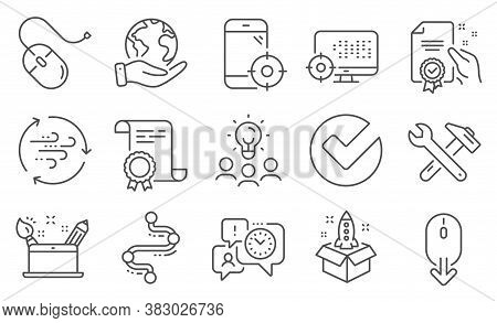 Set Of Technology Icons, Such As Wind Energy, Scroll Down. Diploma, Ideas, Save Planet. Verify, Cert