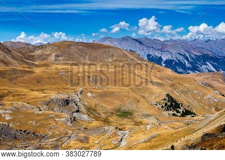 Alpine Landscape Of The French Alps, Col De La Bonette In The Provence Alpes, France.