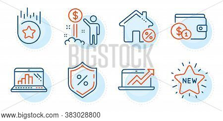 New Star, Buying Accessory And Income Money Signs. Loan House, Sales Diagram And Loan Percent Line I