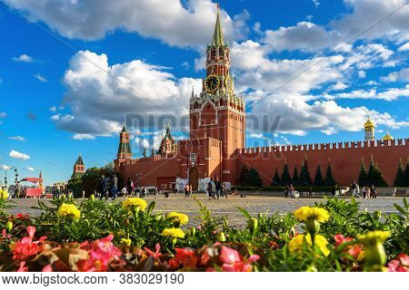 Moscow Kremlin On Red Square In Summer, Russia. It Is Top Landmark Of Moscow. Beautiful Scenic View