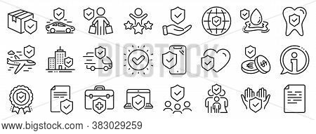 Health Care, Risk, Help Service. Insurance Line Icons. Car Accident, Flood Insurance, Flight Protect