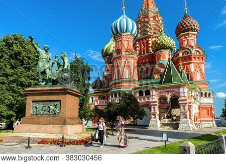 Moscow - July 20, 2020: St Basil`s Cathedral On Red Square In Moscow, Russia. It Is Famous Tourist A