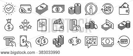 Set Of Banking, Wallet And Coins Icons. Money Line Icons. Credit Card, Currency Exchange And Cashbac