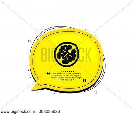 Walnut Icon. Quote Speech Bubble. Tasty Nut Sign. Vegan Food Symbol. Quotation Marks. Classic Walnut