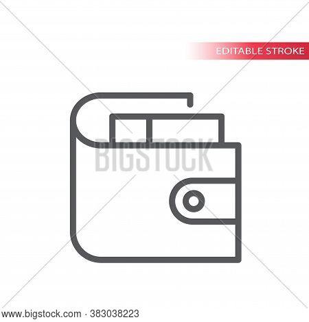Wallet Simple Thin Line Vector Icon. Purse With Money Outline Symbol, Editable Stroke.