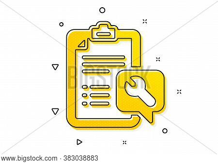 Repair Service Checklist Sign. Spanner Tool Icon. Fix Instruments Symbol. Yellow Circles Pattern. Cl