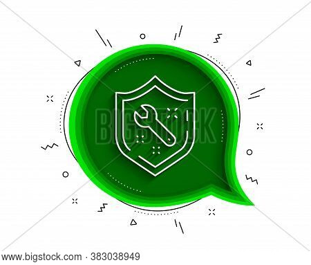 Spanner Tool Line Icon. Chat Bubble With Shadow. Repair Service Sign. Shield Protection Symbol. Thin