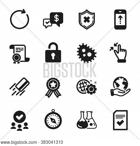 Set Of Technology Icons, Such As Touchscreen Gesture, Lock. Certificate, Approved Group, Save Planet