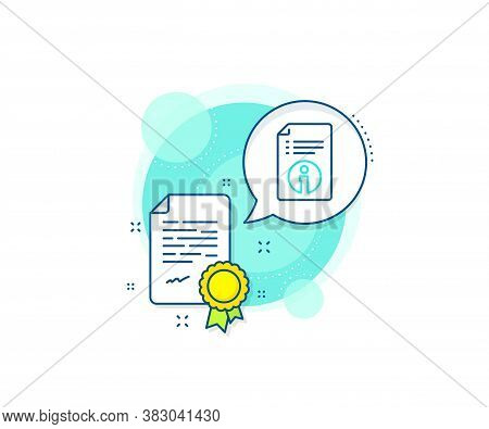 Instruction Sign. Certification Complex Icon. Technical Information Line Icon. Certificate Or Diplom