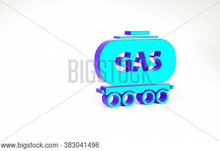 Turquoise Gas Railway Cistern Icon Isolated On White Background. Train Gasoline Tank On Railway Car.