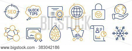 Set Of Technology Icons, Such As Artificial Colors, Quick Tips. Certificate, Save Planet. Password E
