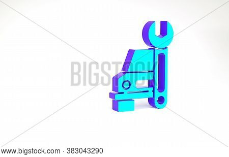 Turquoise Car Service Icon Isolated On White Background. Auto Mechanic Service. Repair Service Auto
