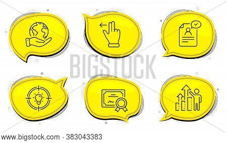 Resume Document Sign. Diploma Certificate, Save Planet Chat Bubbles. Touchscreen Gesture, Employee R